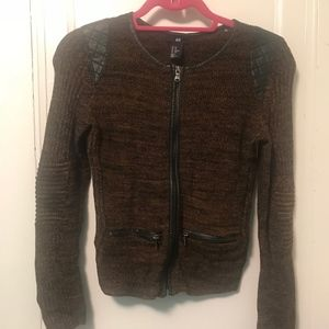 Leather-Lined Sweater with Leather Shoulders